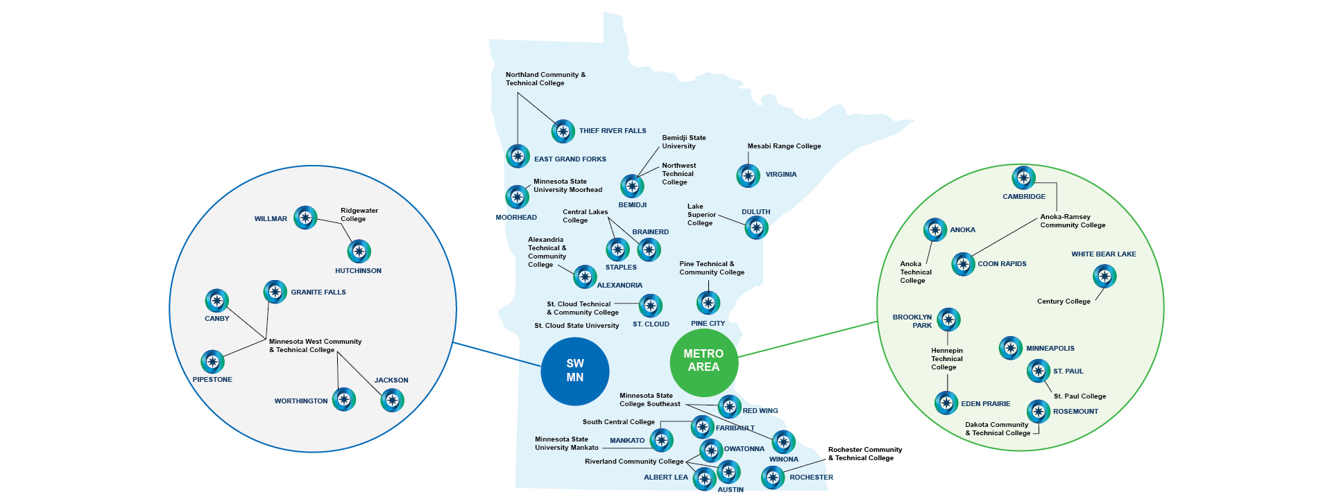 Map of the 24 Minnesota colleges with active manufacturing programs